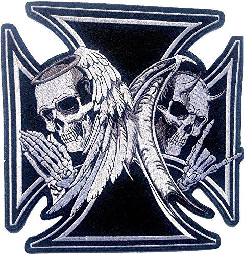 """P.ANTIGURU Skull-Aufnäher-Kreuz-Patches-Applikation-Stickerei-groß für Jeans-Jacke-n Kleidung Aufbügler zum aufbügeln 24 x 24 cm """""""