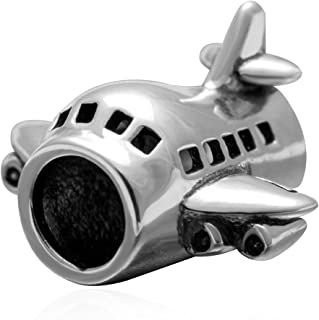 Airplane Charm 925 Sterling Silver Plane Charm Travel Charm Transporation Charm for Pandora Bracelet (Airplane)