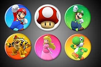 Super Mario Brothers Magnets Nintendo Wii Mario, Luigi, Princess Peach, Bowser, Yoshi, Mushroom collection for fridge whiteboard locker... (1.75 inches)