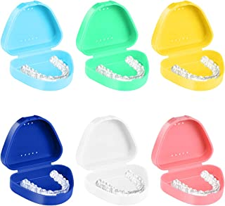 ROSENICE Retainer Case - 6pcs Mouth Guard Case with Vent Holes - Strong Hinge, Easy to Close - Orthodontic Dental Retainer Box Denture Storage Container