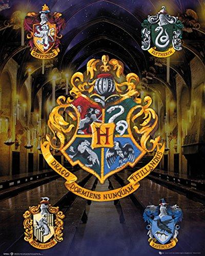GB eye Mini poster Harry Potter, House Crests, 40 x 40 cm, bois, variés, 65 x 3,5 x 3,5 cm