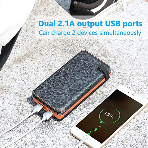 Solar Charger 25000mAh, FEELLE Portable Solar Power Bank with 4 Foldable Solar Panels Outdoor Waterproof Solar Phone Chargers with Dual 2.1A USB Ports for Camping Hiking Travel