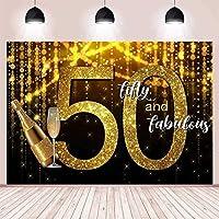 大人のための新しいゴールデンスパークル50歳の誕生日パーティーの装飾の背景50と素晴らしい写真の背景ケーキテーブル用品ビニールの背景7x5ft