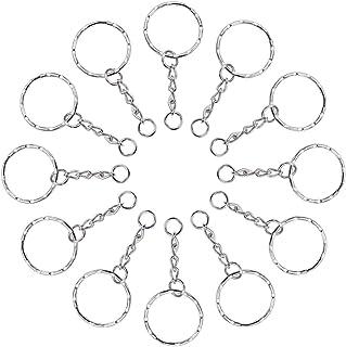 Lictin 60 pezzi anelli per portachiavi 25mm argento tono Zigrinato portachiavi catena,Key Chains