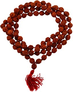 Tibetan 108 Shiva Yoga Red String Knotted Rudraksha Seeds Mala (Red Tassel Knotted)