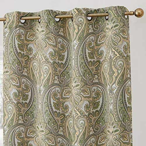 HLC.ME Paris Paisley Decorative Print Damask Pattern Thermal Insulated Blackout Energy Savings Room Darkening Soundproof Grommet Window Curtain Panels for Bedroom - Set of 2 (50 W x 84 L, Sage Green)
