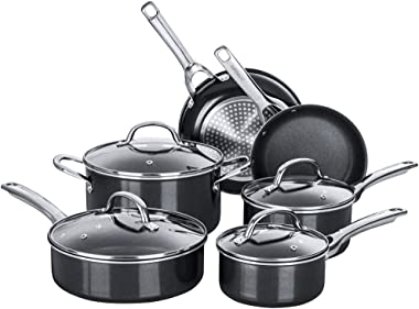 Nonstick Pots and Pans Set, Induction Cookware Sets 10 pieces, Chemical-Free Kitchen Cooking Set, Saucepan, Frying Pan, Skill