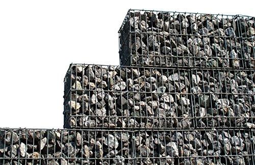 Jet-line 4-delige set schanskorven steenkort zichtscherm roostermand deco hek verzinkt vulbare mand grootte 100x100x30 totale afmeting set: 4 m lang x 0,30 m breed x 1 m hoog