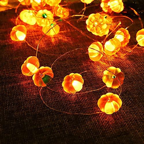 Huarumei Herbst Lichterkette Kürbis Deko, 3M 30 LED Herbstdeko Kürbis Licht mit Fernbedienung, IP65 3D Herbst Dekoration Fensterdeko Kürbis Windlicht Halloween Deko