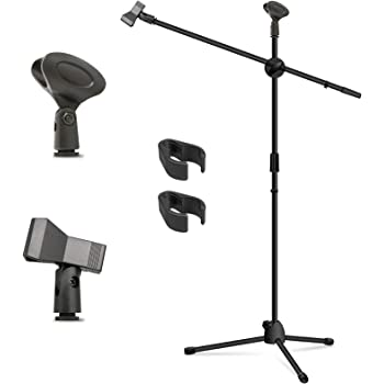 Microphone Stand, Kasonic Adjustable Tripod Boom Mic Stands with 2 Mic Clip Holders; Professional Collapsible for Performance, Karaoke Singing, Speech, Wedding, Stage and Outdoor Activity - Black