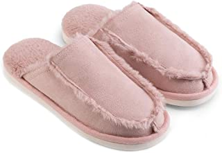 House Soft Slippers, Warm Wool Slippers, Women's Comfort Spring Autumn Winter Slip On Memory Foam Shoes,Pink,S