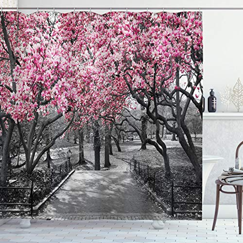 Ambesonne NYC Decor Collection, Blossoms In Central Park Cherry Bloom Trees Forest Spring Springtime Landscape Picture, Polyester Fabric Bathroom Shower Curtain Set with Hooks, Pink Gray