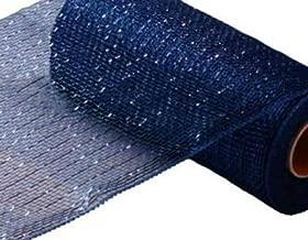 10 inch x 30 feet Deco Poly Mesh Ribbon - Value Mesh (Navy Blue, Royal Blue Foil)