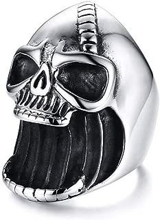 Homme Acier Inoxydable Fashion Punk Crâne Motard Anneaux Titane Bijoux Taille 10-12
