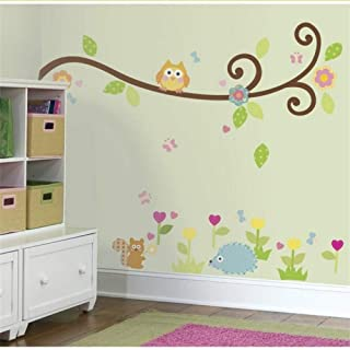 Lovely Owlet Tree Branch Wall Stickers for Kids Room Home Decorations Walls Decals Cartoon Animals Mural Art Size 50 * 70Cm