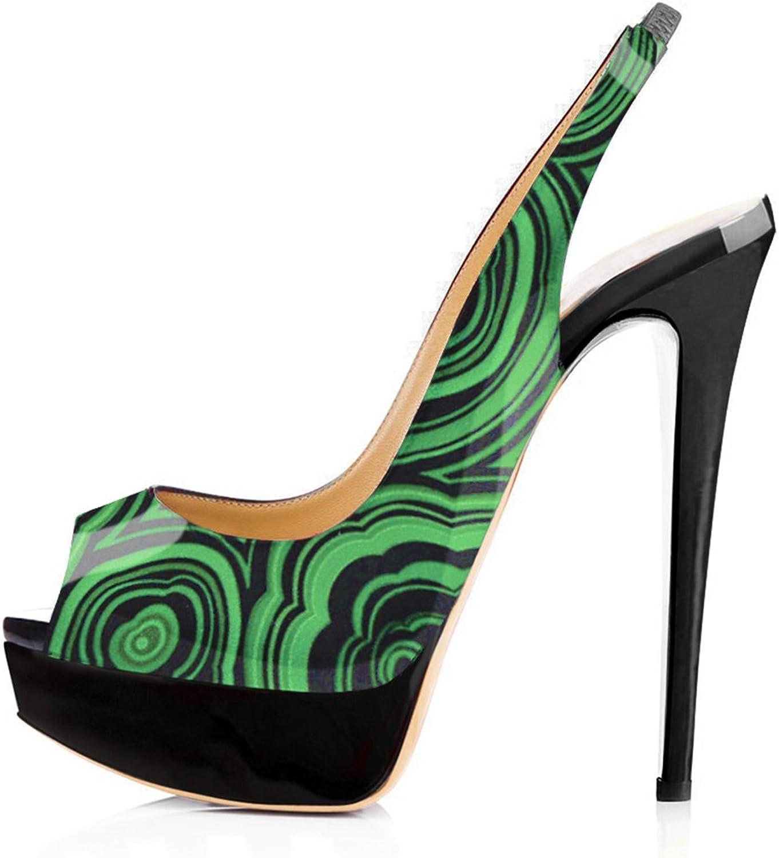 Onlymaker Women's Platform Peep Toe Stilettos Dress Sandals Slingback High Heel Pumps