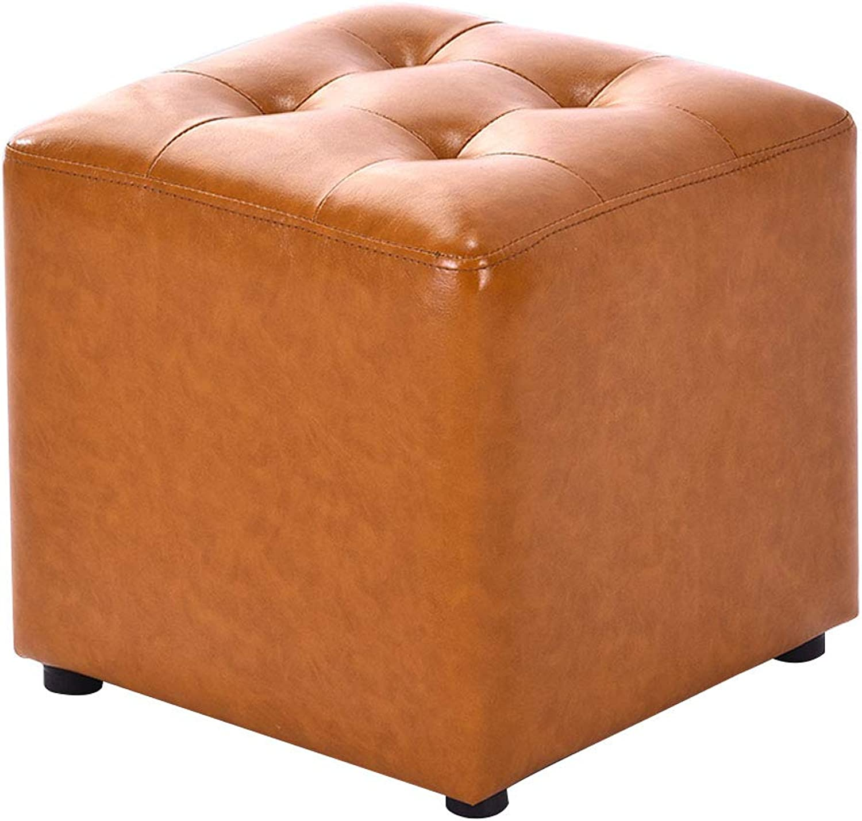 Faux Leather Footstool Square Pouffe Upholstered Foot Stool Highly Elastic Sponge Filling Sofa Stool Footrest Stool 4 Legs Max Load 100KG   36cmx33cm-orange