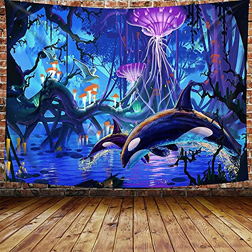 Tapiz de bosque de hadas, delfín saltador, gaviota voladora, medusas, fantasía, bosque, paisaje del lago, tapiz del árbol de la vida, tapiz azul púrpura, 200 x 152 cm, franela grande GTXYDB105