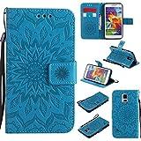 Funda para Galaxy S5, diseño de flores de sol, piel sintética, con correa tipo cartera, con ranura para tarjetas/soporte, compatible con Samsung Galaxy S5 (color: azul)