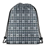 Drawstring Tote Bag Gym Bags Storage Backpack, Europe Azulejo Portuguese Mosaic Tiles Folkloric Cultural Heritage Spanish,Very Strong Premium Quality Gym Bag for Adults & Children