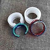 PHILSP Molde de Bricolaje 2 Piezas Molde de Silicona de puño Abierto para Hacer Joyas Brazalete Ancho Herramientas de joyería Claro