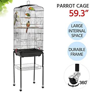 Yaheetech 59.3-inch Standing Medium Flight Bird Cage for Cockatiel Quaker Parrot Sun Parakeet Green Cheek Conures Finch Budgie Lovebird Parrotlet Canary Finch Pet Bird Cage with Stand