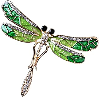 MagiDeal Lovely Enamel Crystal Dragonfly Insect Bug Brooch Pin Collar Lapel Badge