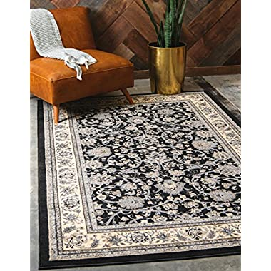 Unique Loom Sialk Hill Collection Traditional Floral Overall Pattern with Border Black Home Décor Area Rug (8' x 10')