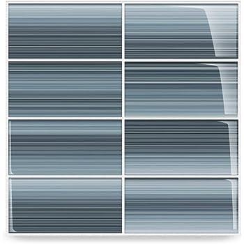 Deep Ocean Blue Gentle Grey Glass Tile Perfect For Kitchen Backsplash Or Bathroom Color Sample Amazon Com