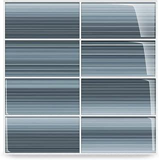 Deep Ocean Blue, Gentle Grey Glass Tile Perfect for Kitchen Backsplash or Bathroom, Color Sample