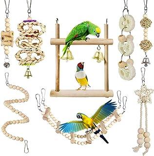 CAMITER 8 paczek zabawki dla ptaków papugi klatka zabawki naturalne drewno wiszące huśtawka rozdrabnianie żucia okoje papu...