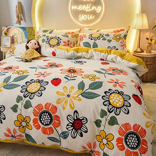 Double bed single,A pure cotton B coral fleece four-piece winter plush linen double-sided duvet cover milk flannel-Bellis_2.0m bed 220x240cm 4pcs