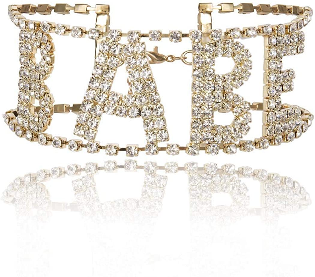Masiter Sparkly Rhinestone Necklace Crystal Letter BABE Choker Tennis Chain Party Nightclub Costume Jewelry for Women and Girls