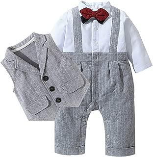 Toddler Baby Boy Bowtie Gentleman Clothes Set Outfit Overall Vest T-Shirt Stripe Pants Wedding Bodysuit