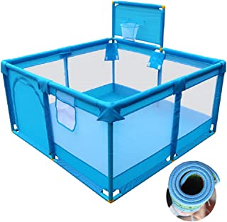 Playpen YXX- Baby for Boys  Portable Playard Indoor  Infant Toddler Safety Play Yard  with Anti-Skid Pads and Basketball Hoop  Blue  Size 128 128 66cm