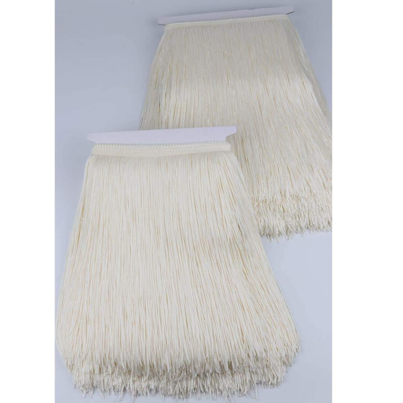 Heartwish268 Fringe Trim Lace Polyerter Fibre Tassel 12inch(″) Wide 10 Yards Long for Clothes Accessories and Latin Wedding Dress and DIY Lamp Shade Decoration Black Cream Off-White deegbl4917