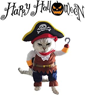 XinqiMon Caribbean Pirate Pet Halloween Costume for Small to Medium Dogs Cats Kitty