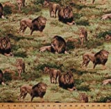 Cotton Lions Lioness Cubs Pride Animals Predators Big Cats Africa African Safari Scenic Savanna Wildlife Nature Born Free Cotton Fabric Print by The Yard (112-31911)