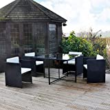 Kingfisher RCUBE Rattan Effect Cube Table and 4 Chairs Garden Set - Black