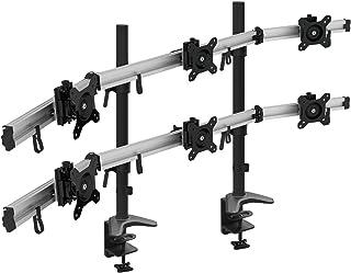 HFTEK 6-krotne ramię do monitora – uchwyt stołowy na 3+3 ekrany 15 – 27 cali z VESA 75/100 (MP260C-N)