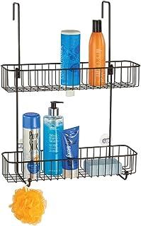 mDesign 浴室用シャワードアキャディ エクストラワイド メタルワイヤー ハンギングストレージオーガナイザー センターにフックとバスケットを2段階に内蔵してシャンプー ボディウォッシュ へちま ブロンズ