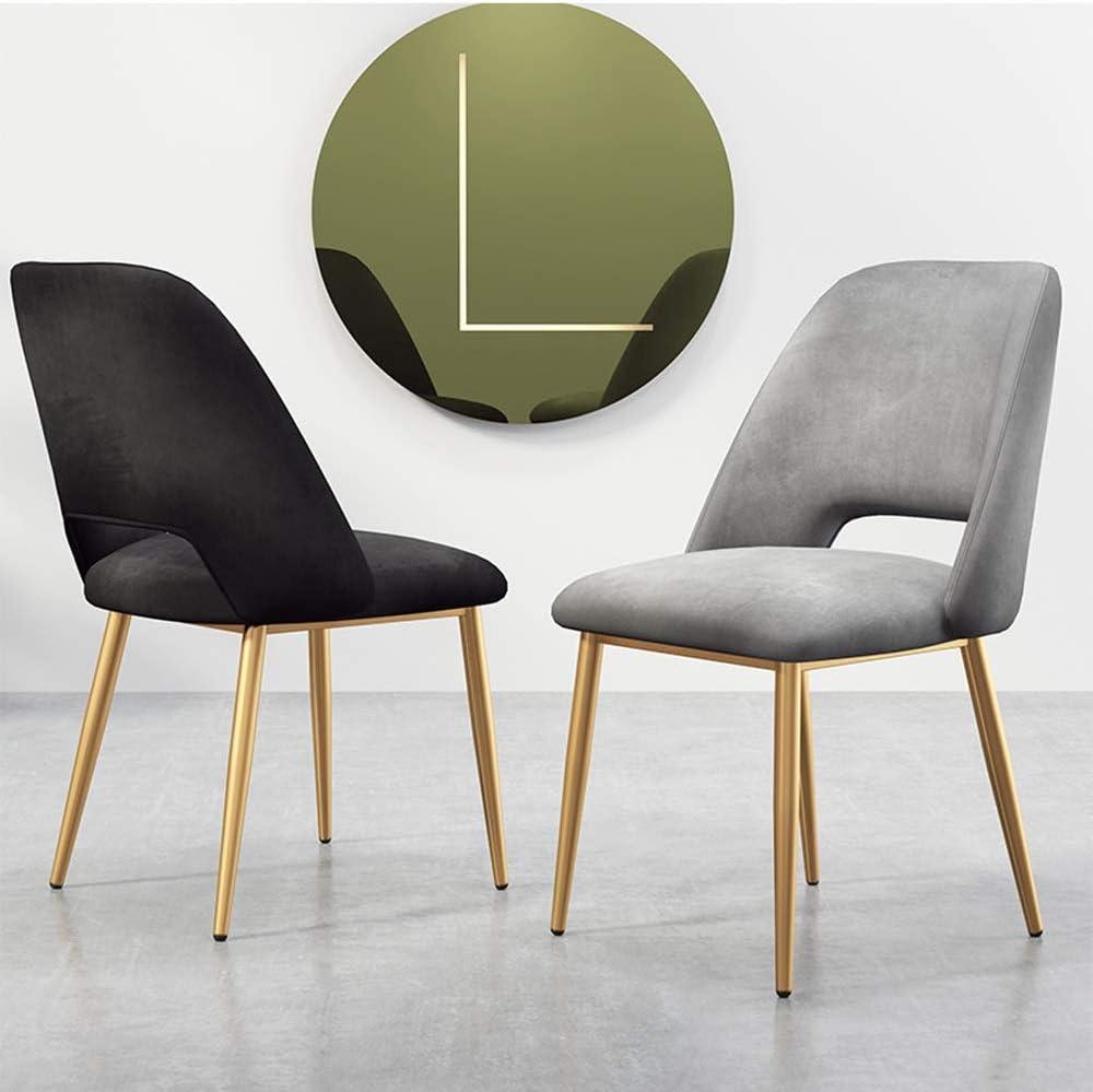 Chaise de cuisine Chaise de salle Salon Loisirs Coin Chaise velours Chaise de réception avec dossier (Color : Black) Pink