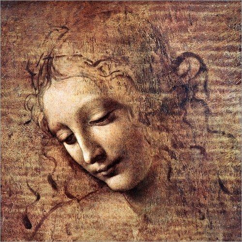 Posterlounge Leinwandbild 30 x 30 cm: Die Zerzauste (La Scapigliata) von Leonardo da Vinci -...