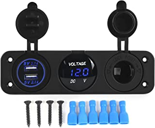 AOTOMIO Triple Function LED Car Digital Voltmeter & Dual USB Car Charger 5V up to 4.2A & 12V Outlet Power Socket Blue LED Three Holes Panel Waterproof Cap (Applicable on car, Motorbike & Boat)