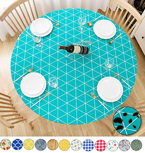 Rally Home Goods Indoor Outdoor Patio Round Fitted Vinyl Tablecloth, Flannel Backing, Elastic Edge, Waterproof Wipeable Plastic Cover, Triangular Green Teal Patterns for 6-Seat Table of 43-56'' Diam