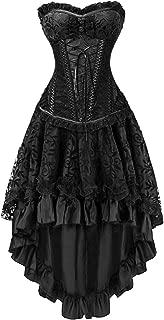 Killreal Women's Halloween Party Masquerade Brocade Lace Gothic Corset Skirt Set