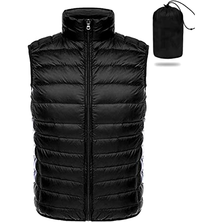 RIOJOY Ultra Lightweight Mens Gilet Warm Packable Winter Puffer Down Vest for Mountain