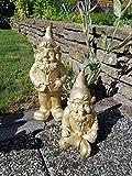 Stoobz Schöner GNOME Set Gold | Gartenzwerg Set Gold von polyresin (Regen- und frostbeständig) | Höhe 32 und 23 cm | Gold | Dekorationsartikel für Haus und Garten