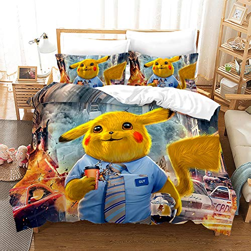 Probuk Pikachu - Juego de cama 3D Pikachu funda de edredón + funda de almohada de microfibra con cremallera, para adolescentes, niños, ropa de cama (8,200 x 200 cm (50 x 75 cm)