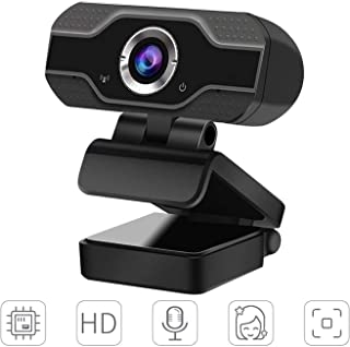 HD Webcam with Microphone, 1080P Webcam Streaming for PC Laptop Desktop Video Calling, Conferencing with Flexible Rotatable Clip